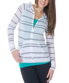 Another great find on #zulily! White Stripe Taylor Zip-Up Hoodie by Soybu #zulilyfinds