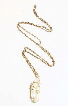 Minc Collections - Clear Quartz Crystal Gold Wrap Necklace