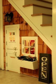 playhous, kid playroom, basement stairs, kids clubhouse, chalkboard, under stairs, guest book, apron, window boxes