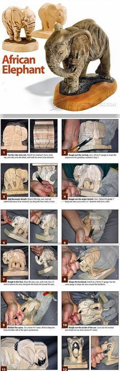 African Elephant Carving - Wood Carving Patterns and Techniques | WoodArchivist.com