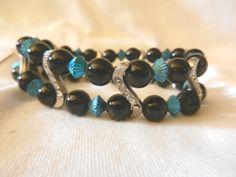 Multi Row Teal & Black Stretch S Curve Rhinestones Faux Pearl Bracelet