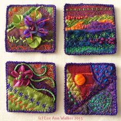 "Lee Ann Walker, 5-2"", 2/17/15. Exploring machine stitches on trash from the studio floor.assorted thrum, polyester, beads, wire, floss"