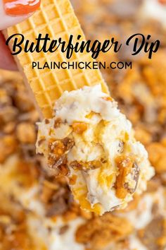 Butterfinger Dip - only 4 ingredients and ready in minutes!!! This stuff should come with a warning label - SO good!!! Cream cheese, cool whip, brown sugar and butterfinger candy bars. Serve with vanilla wafers, sugar cookies, fruit, graham crackers or pretzels. Can make a day in advance and refrigerate until ready to serve. Great for tailgating and holiday parties!! Everyone RAVES about this yummy dessert dip! #dessert #dip #partyfood #butterfingers