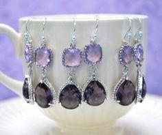 Bridesmaid Purple amethyst Earrings and lavender  by alejandracc, $27.00