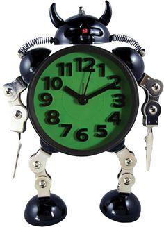 Leuke gadgets: Robot alarmklok 'roboclock' (groen) - Axeswar Design