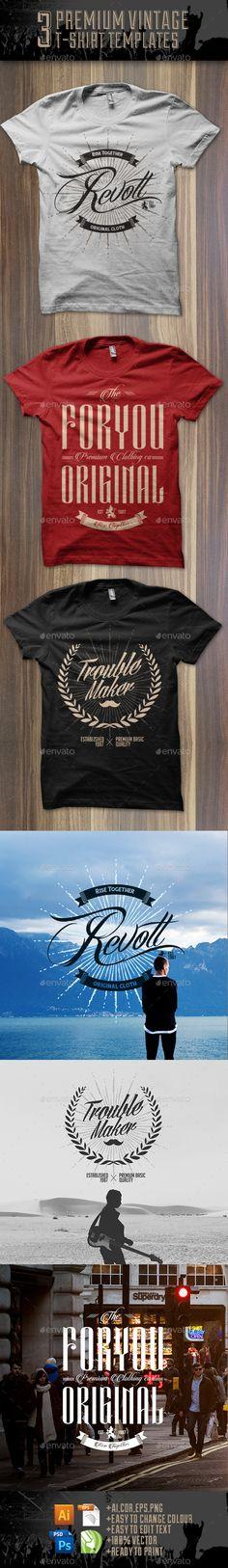 3 Premium T-Shirt Template  #editable #premium #retro • Available here → http://graphicriver.net/item/3-premium-tshirt-template/8956143?s_rank=10&ref=pxcr