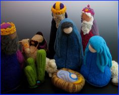 Blue Nativity with Wise Men and Camels and Sheep
