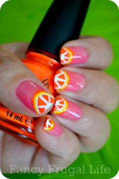 Citrus Nails Tutorial for Juels. Would be cute with a lime green base coat.