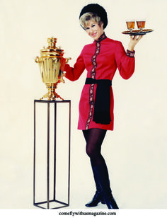 In the 1970s, Alaska Airlines' Golden Samovar service carried passengers to the Soviet Union. Hostesses dressed as Cossacks served vodka.