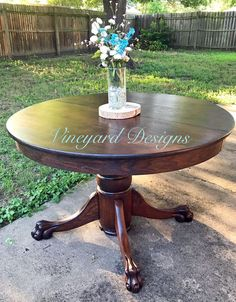 Look at how beautiful this claw foot table turned out for my client! It had some wear and tear on it so we sanded it and applied General Finishes Java gel stain with several coats of their High Performance top coat. Their products are top notch! Chalk Paint Colors, White Chalk Paint, Chalk Paint Furniture, Furniture Design, Furniture Ideas, Blue Furniture, Java Gel Stains, Dining Table Makeover, Colorful Dresser