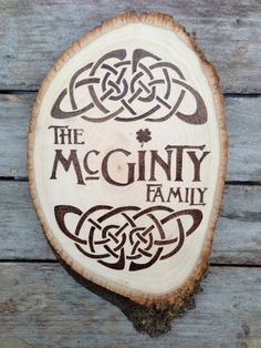 Rustic+Celtic+Irish+Family+Name+Sign+wood+burnt+by+bluemarket,+$85.00