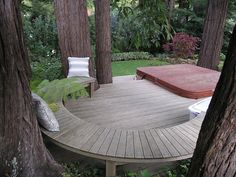 patio among the trees. We can see this in a large number of back yards. Point Zero One Realty #decksaroundtrees
