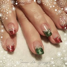 """""""Let's have some Christmas feeling! Shellac manicure with my usual twist and my lovely Donna that loves glitter even more than I do. #gelpolish…"""""""