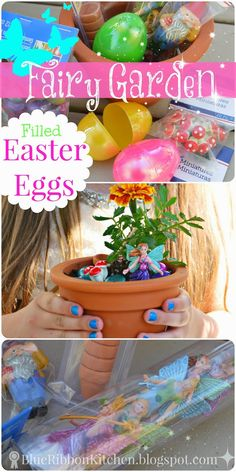 Blue Ribbon Kitchen: FAIRY GARDEN EASTER EGG FILLERS...A great non-candy way to fill Easter eggs! The kids LOVED it and they played all summer with their fairy gardens!!