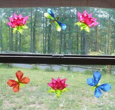 Basteln mit Papier: Bunte Schmetterlinge, Sommerdeko fürs Fenster *** DIY Paper Crafts for Kids