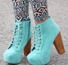 Mint heels and leggins