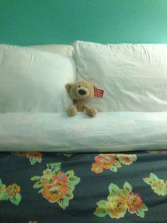 Teddy tucked in, & duvet cover!