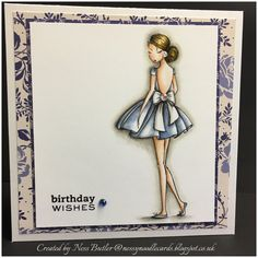 All Dressed Up/Digi/ Stamp/ card making/ Wendy Burns/ party frock/ Etsy/ Ness Butler/ Polychromos pencils/ faber castell/