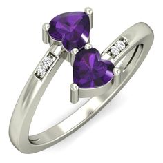 Buy this stunning 18K amethyst #heart #ring only at Rs. 11181/- with 100% certified, hallmarked, free shipping, 30 days return & lifetime exchange policy. Shop Now: https://www.goldnstone.com/heart-connection-ring.html  #love #gift #jewelry #gold