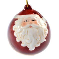 Ceramic Santa Christmas Bell Bauble   Past Times