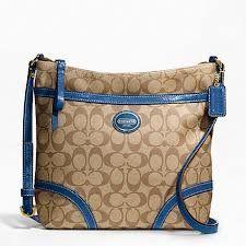 Coach Heritage File Khaki Blue Crossbody Bag F18926