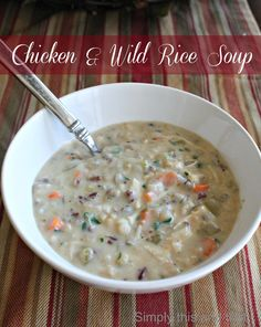 Chicken and Wild Rice Soup...with the help of the ever trusty Crock-pot! Just leave out the flour.