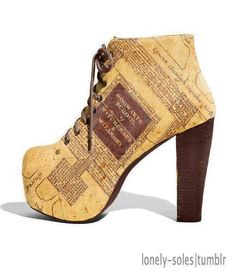 They look like jeffery campbell boots with the marauders map from the harry potter movies designed on them .I need them in my life! Mode Harry Potter, Harry Potter Shoes, Harry Potter Style, Harry Potter Outfits, High Heel Boots, Bootie Boots, Shoe Boots, High Heels, Shoes Heels