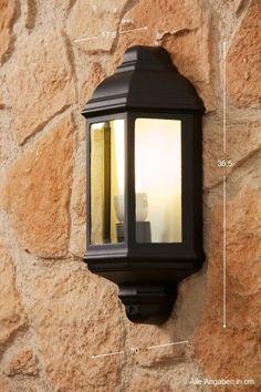 Applique da esterno Classico Alluminio nero Lampada da parete Lanterna NEW 37745 | eBay