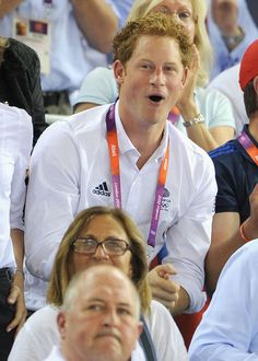 Prince Harry enjoys the atmosphere at the Track Cycling on Day 11 of the London 2012 Olympic Games at the Velodrome on August 7 2012 in London Prince Harry Of Wales, Prince Harry Photos, Prince Henry, Prince Harry And Meghan, Prince William, London Olympic Games, London Summer Olympics, Prinz Harry, Funny Faces