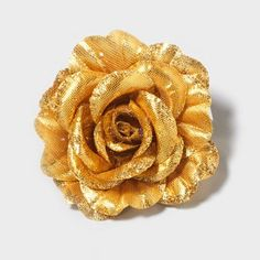 Gold Sparkle Rose Hair Clip
