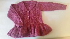 Hand Knit Girls Pink Cardigan with Sailor Collar 12-18 months by LittleknitsDesigns on Etsy