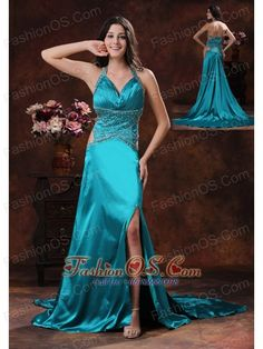 Turquoise High Slit Halter Brush Train Prom Dress With Beaded Decorate In Williams Arizona Prom Dress 2013, Beaded Prom Dress, Homecoming Dresses, Dresses 2013, Evening Dresses Online, Cheap Evening Dresses, Evening Gowns, Little Girl Pageant Dresses, Pretty Prom Dresses
