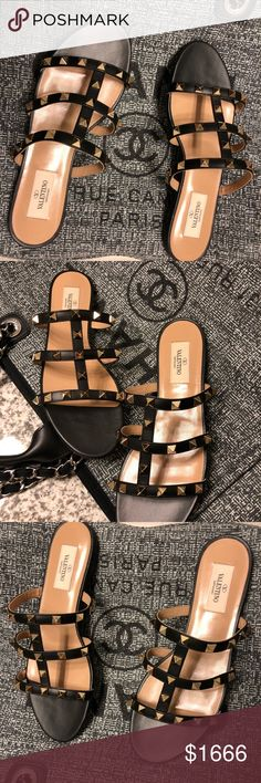 Valentino rockstud flats Authentic Valentino rockstud sandals gorgeous classic black color with gold rockstuds size 7 easy to wear with out ankle strap. Comes in box ships out ASAP. No trades❌no pp. Poshmark only thank you  Valentino Shoes Sandals