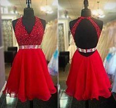 Backless V Neck Beading Homecoming Dress , Short Prom Dress, PDS0054