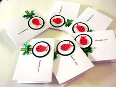 A Set of 6 Ladybug Thank You Note by ArleenDesign on Etsy, $5.00