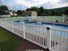 Give a unique look to your pool with the Atlantis Vinyl Pool Fence.