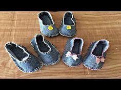 Sapatinho de Bebê feito de calça jans - YouTube Baby Booties, Baby Shoes, Diva Dolls, Sewing Dolls, Collars, Doll Shoes, Girl Doll Clothes, Filet Crochet, Slipcovers
