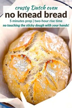 Artisan Bread Recipes, Easy Bread Recipes, Cooking Recipes, Easy Dutch Oven Recipes, No Oven Recipes, Knead Bread Recipe, No Knead Bread, Bread Dough Recipe, Easy Bread Loaf Recipe
