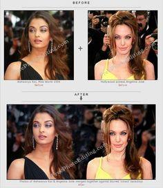 Photos of Aishwarya Rai & Angelina Jolie merged.  http://www.freephotoediting.com/samples/change-background/019-do-aishwarya-rai-and-angelina-jolie-have-common-blue-eyed-ancestor.htm