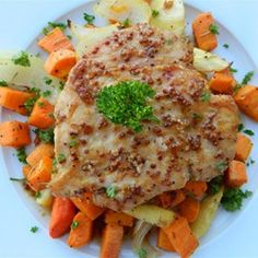 """Honey-Mustard Chicken with Roasted Vegetables 