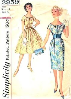 Simplicity Pattern 2959 Vintage 50's Fabulous Cocktail Dress - Slim or Full Skirt - Pretty Pleats at Neckline! Complete Size 16 Bust 36, $18.00