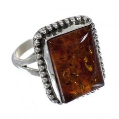 Beautiful Handcrafted Sterling Silver Amber American Indian Ring