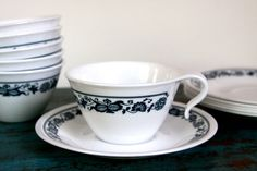 $17 Vintage Corelle Old Town Blue Hook Handle Cup and Saucer Set of 6 by LittleShopofWhatNots on Etsy