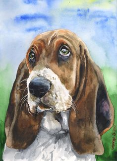 Basset Hound watercolor Original Painting art cute Sweet Dog painting Decor FREE…