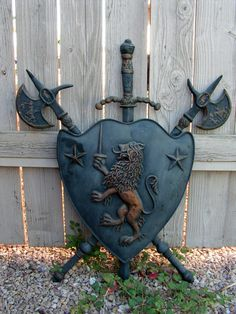 Vintage Cast Iron Shield Coat of Arms / Medieval Weapons Gothic Decor / Scottish Rampant Lion Crest with Sword Axe / Game of Thrones