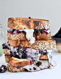 is food porn. Grilled fontina & blackberry basil sandwiches / How Sweet Eats Think Food, Love Food, Ideas Sándwich, Queso Fundido, Food Porn, Blackberry Recipes, Comfort Food, Wrap Sandwiches, Steak Sandwiches