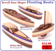 Scroll Saw Magic Floating Boats Wood Toy Plan Set