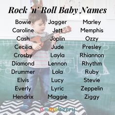 Rock 'n' Roll baby names come from the names of classic rockstars, rock 'n' roll songs, and words connected to the genre. If you're a music fan, add some of these rockin' baby names to your list. Click through for more! #babynames #rocknroll #musicnames #musicbabynames Cool Boy Names, Cute Baby Names, Unique Baby Names, Music Baby Names, Best Character Names, Baby Name Decorations, Rock And Roll Songs, Aesthetic Names, Fantasy Names