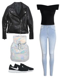 """""""Schoolin 😎"""" by icantwaitforwhatstocome on Polyvore featuring Relaxfeel, Chicwish, H&M and NIKE"""