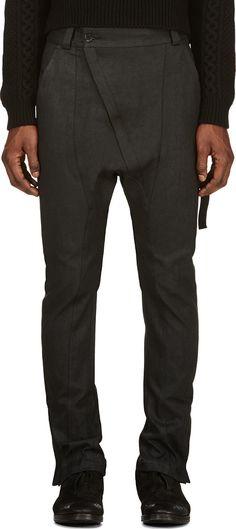 Alexandre Plokhov Black Denim Asymmetric Zip Harem Jeans